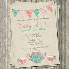 Tea Party Birthday Invitation, Time for tea birthday, little girl birthday Digital Printable File. $13.00, via Etsy.