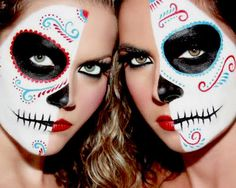 Pretty Girls Back From the Dead (skull,skeleton. skull makeup,skeleton makeup,day of the dead,pretty,beautiful,girl,babe,chick,makeup)