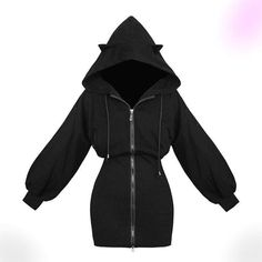 Gothic Outfits, Edgy Outfits, Cute Casual Outfits, Gothic Dress, Teen Fashion Outfits, Girl Outfits, Fashion Dresses, Gothic Hoodies, Kawaii Hoodie