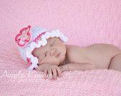Crochet Baby Hat, Crochet Newborn Hat, Infant Crochet Hat, Ruffle Hat, White/Pink, Hat Set, Gift