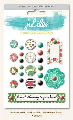 My Mind's Eye - Jubilee Collection - Mint Julep - Decorative Brads - Ride at Scrapbook.com