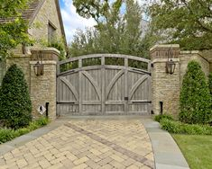 Excellent Solid Outdoor Wood Gates Designs: Traditional Landscape Swinging Outdoor Wood Gate Anchored On The Right Side Plus Lantern ~ luciomorini.com Architecture Inspiration