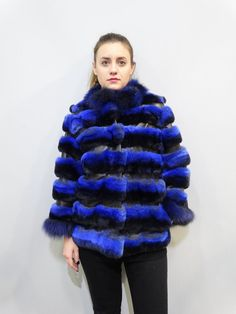 Blue Fur JacketReal Rex Fur with Leather by FilimegasFurs on Etsy Fur Coat, Stripes, Coats, Sleeves, Model, Leather, Jackets, Blue, Etsy