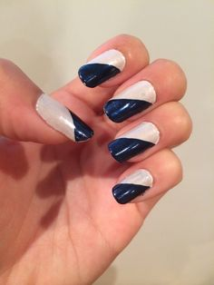 Navy and Cream colored nails