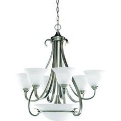 Progress Lighting Torino Collection 9-Light Brushed Nickel Chandelier-P4417-09 at The Home Depot
