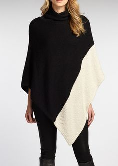 Indigenous Designs 2 Tone Poncho made from organic cotton made using low impact dyes made by fair trade artisans in Peru hand wash cold, lay flat to dry cowl neckline Boho Fashion, Autumn Fashion, Fashion Looks, Fashion Outfits, Womens Fashion, Coats For Women, Sweaters For Women, Clothes For Women, Women's Sweaters