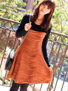 Wave striae color matching dress