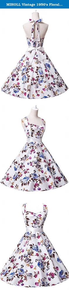 """MIHOLL Vintage 1950's Floral Spring Garden Party Picnic Dress Cocktail Dress. 5 Sizes available: US S------Chest 32.7""""------Waist 26.8''------Length 41.3'' US M------Chest 34.6''-----Waist 28.7''------Length 41.7'' US L------Chest 36.6''------Waist 28.7''------Length 42.1'' US XL------Chest 38.6''----Waist 32.7''------Length 42.5'' US XXL------Chest 40.6''----Waist 34.6''-------Length 42.9'' Package Content: 1 x Women Dress."""