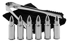 Bullet Shaped Whiskey Stones - Chills Drinks - Stainless Steel Gift Set - 6 Stones Rocks Cubes for Chilling Vodka, Whiskey & Scotch - Tongs & Storage Bag - Alcohol Ammo Whisky, Ice Stone, Good Whiskey, Whiskey Gifts, Scotch Whiskey, Steel Gifts, Perfect Glass, Kugel, Cool Gifts