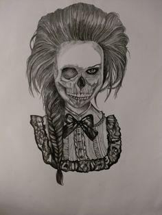 My GCSE Art final piece  Skull/victorian girl