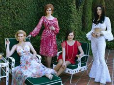 January Jones as Betty Francis. Christina Hendricks as Joan Harris, Elisabeth Moss as Peggy Olson and Jessica Pare as Megan Draper in the final season of Mad Men. Museums around the US have Mad Men events and exhibits planned this month. Jon Hamm, Mad Men Final Season, Season 7, Jessica Lee, Don Draper, Betty Draper, Madison Avenue, Mad Men Fashion, 70s Fashion