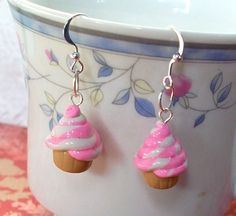 Strawberry Swirl Polymer Clay Cupcake Earrings by cuddlebugeeshi, $3.50