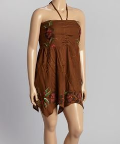 Love this Brown Handkerchief Dress - Plus by Style In Fashion on #zulily! #zulilyfinds