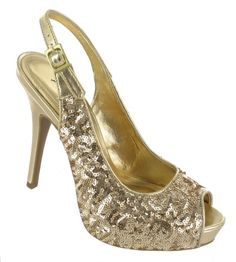 Anne Michelle  Ladies gold sequin high heel platform slingback sandal