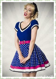 Belsira 50er Jahre Rockabilly Petticoat Kleid - Betty - Blau Weiß Pink dress blue white pink polkadots and stripes