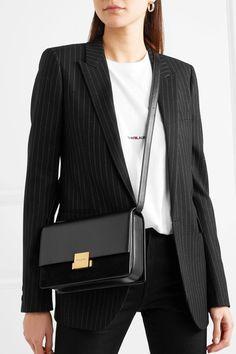 SAINT LAURENT classy Bellechasse medium textured-leather and suede shoulder bag