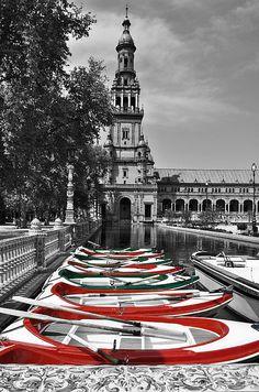 "Photograph, ""Boats by the Plaza de Espana Seville,"" by Mary Machare, Fine Art America."