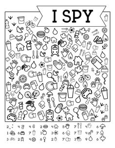 Free Printable Road Trip Games For Kids {I Spy}. DIY I spy with my little eye game for travel or home activty. Keep kids happy. - Free Printable Road Trip Games For Kids {I Spy} - Paper Trail Design Halloween Worksheets, Kindergarten Worksheets, Worksheets For Kids, Printable Worksheets, Free Printable, Printable Coloring, Math Coloring Worksheets, Halloween Math, Games Gratis