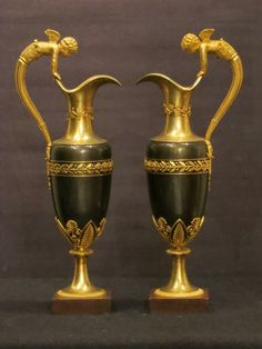 Beautiful pair of #claret #jugs in patinated and gilded #bronze #Empire, early 19th century. For sale on #Proantic by Laurent Chalvignac.