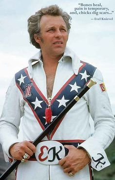 "A great poster! ""Bones heal, Pain is temporary, and Chicks dig scars..."" American daredevil Evel Knievel explains the motivation behind his death-defying stunts! Ships fast. 11x17 inches. Need Poster"