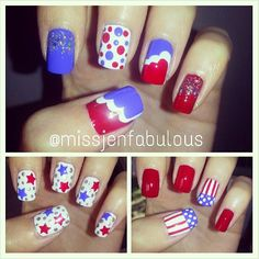 missjenfabulous's festive tips. Show us your 4th of July-inspired nails! Tag your pic #SephoraNailspotting to be featured on our social sites.