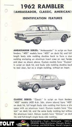 1962 Rambler Ambassador Classic American Salesman'S | eBay