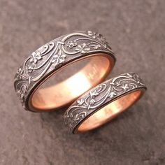 Art Deco Ivy wedding band set in sterling silver. Lined in 14k gold. By Chuck Domitrovich of Down to the Wire Designs
