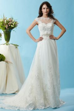 Style * BL126 * » Wedding Dresses » Black Label 2015 Spring Collection » by Eden Bridals » Available Colours : Ivory ~ Shown Sweetheart Bodice & Sheer Illusion neckline with Cap sleeves & a heavily Beaded Trim at waist.