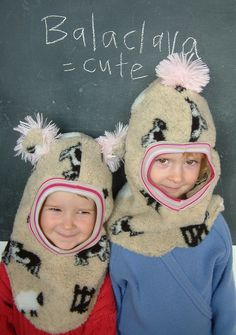 the girls wanted balaclavas for the cold frosty times ahead . Balaclava, Stay Warm, Sewing Projects, Winter Hats, Cold, Hoodies, Kids, Tunics, Beauty