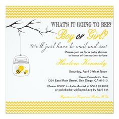Baby Bee Shower invitation Gender neutral reveal