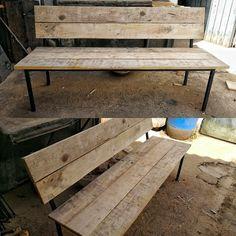 Banc de ferro i fustes de palet, reciclatge / bench iron and wood pallet, recycling