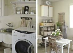 A gorgeous vintage inspired laundry room - a total must browse! By Faded Charm