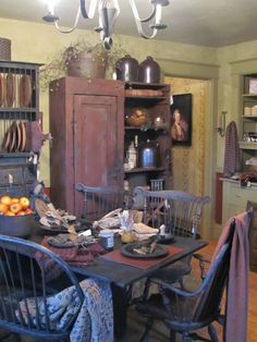 """Primitive Country Furniture, Makers of Primitive Furniture, Decor and Primitive furnishings. This is """"Just a Little Bit Country"""", Kari's shop. Primitive Dining Rooms, Primitive Homes, Primitive Furniture, Primitive Kitchen, Country Furniture, Country Primitive, Handmade Furniture, Country Decor, Prim Decor"""