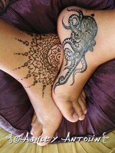 Jagua & Henna / Octopus & Mandala  http://ashleyaa2.wix.com/ashleyantolin-art     -Maui Artist Body Art ( temporary tattoo /  Henna, Jagua, Body Paint) Photography & Illistrations