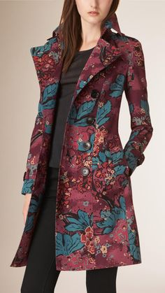 Floral Cotton Gabardine Trench Coat | Burberry