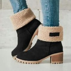 Hunzed Women/'s Fluffy Zipper Boots Women Fashion Winter Warm Flat Flock Fur Round Toe Casual Shoes
