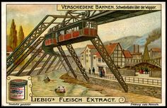 """Wuppertal Floating Tram  Liebig's Beef Extract """"Different Railway Systems"""" German issue, 1909. Wuppertal Schwebebahn """"Floating Tram"""" , Germany (1903)"""