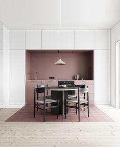Apaixonada por essa inspiração de Cozinha com ponto de Cor! Quem também amou?! ♥️. . Projeto de Interiores por Lis Design.