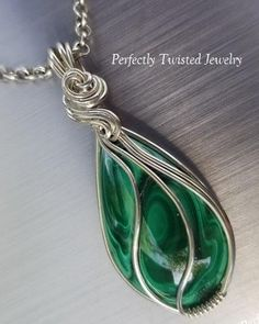 Malachite and Fine Silver Wire Wrapped Pendant handmade by