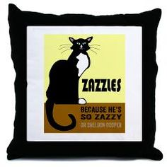 "Zazzles Sheldon Cooper Cat Throw Pillow ""Zazzles, because he's so Zazzy""."