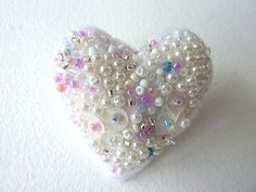 White Heart Beaded Brooch Pin fibre art jewellery by shelikesthis 2x2 in