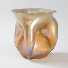 Tiffany Studios New York Golden Gathered Favrile Glass Vase.  Available exclusively at Macklowe Gallery.
