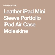 Leather iPad Mini Sleeve Portfolio iPad Air Case Moleskine
