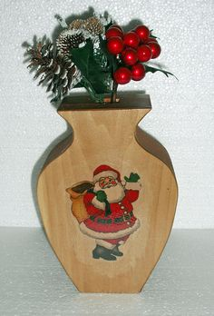 Santa Wooden Bud Vase Holiday Decoration Table by PawPawsWorkshop