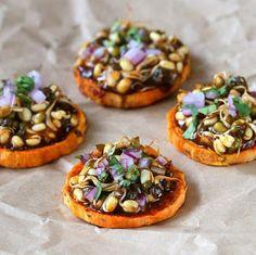 BBQ Sweet Potato Mung Bean Canapes HealthyAperture.com