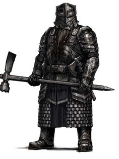 """Concept art for the Dwarven Guards of Erebor from """"The Hobbit"""" trilogy The geometric aspects of the armor continue the strong visual lines established as part of the Dwarven cultural motif. Fantasy Dwarf, Fantasy Male, Fantasy Armor, High Fantasy, Medieval Fantasy, Dungeons And Dragons Characters, Fantasy Characters, Dnd Characters, Larp"""