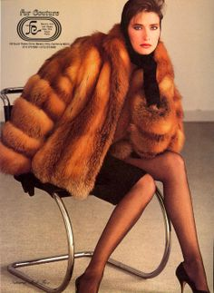 Fur Couture Fall/Winter 1983-84 US Vogue October 1983 Photo Serge Barbeau  Model Rosemary McGrotha