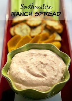 Southwestern Ranch Spread - quick dip for chips or veggies - cream cheese, sour cream, ranch and Rotel.