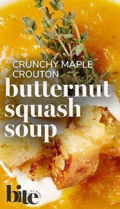 Warm up from your nose-to-your-toes with this easy, hearty and healthy Butternut Squash Soup with Maple Croutons. Packed with roasted butternut squash, apples, thyme, garlic and a hint of maple, this satisfying soup makes for the perfect winter lunch. #fallrecipes #weeknightcooking #cozyrecipes