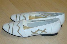 Vtg 80s Cute Zigzag Cutouts White Leather Shoe 7 Mint | eBay